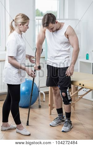 Man With Knee Orthosis