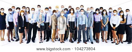 Large Group Business People Keeping Silence