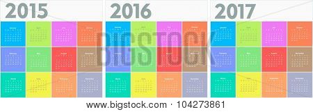Circle calendar for 2015 2016 2017 years. Colorful vector