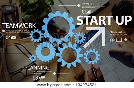 Start up Teamwork Strategy Development Equipment Concept