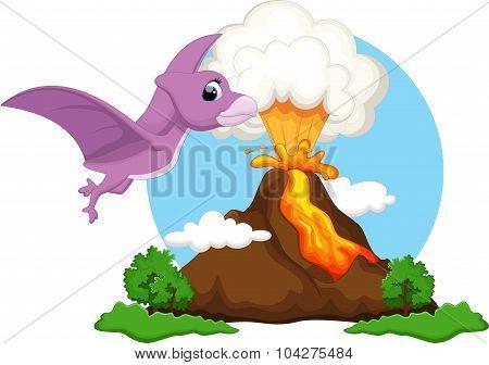 Funny pterodactyl flying