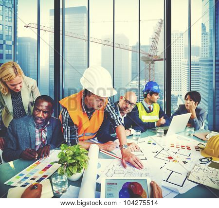 Group of Architect Engineer Discussion Brainstorming Concept
