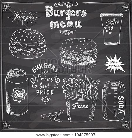 Burger Menu Hand Drawn Sketch. Fastfood Poster With Hamburger, Cheeseburger, Potato Sticks, Soda Can