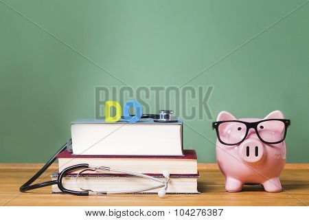 Doctor Of Osteopathic Medicine Do Theme With Pink Piggy Bank