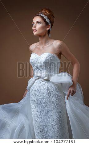 Portrait Of A Beautiful Woman In A White Wedding Dress.
