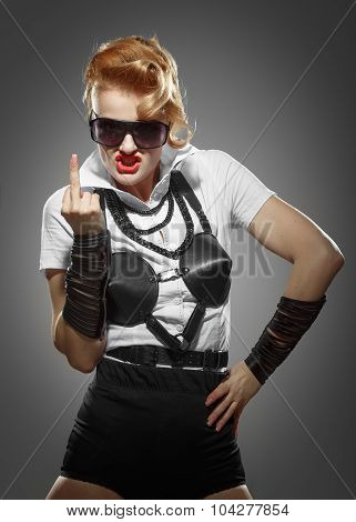 Angry Aggressive Woman Indicating Finger - Fuck Symbol