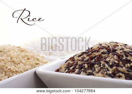 Square Bowl Of Uncooked Rice