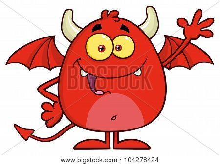 Happy Red Devil Cartoon Character Waving