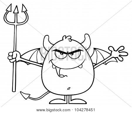 Black And White Angry Devil Cartoon Character