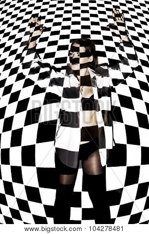 Beautiful Woman Covered With Black And White Squares