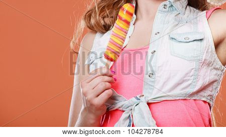 Closeup Of Woman Holding Ice Cream Popsicle.