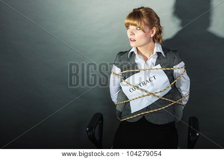Afraid Businesswoman Bound By Contract Terms.