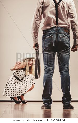 Man Beating His Scared Woman With Belt
