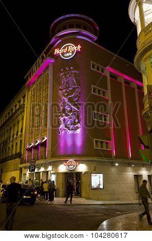 Hard Rock Cafe Building At Night In Lisbon