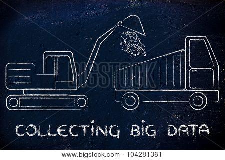 Collecting Big Data: Funny Digger And Truck Elaborating Binary Code