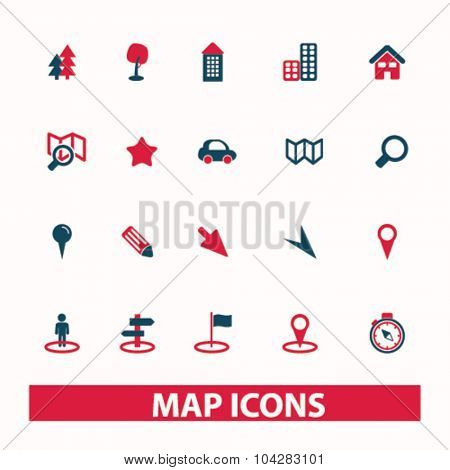 map, route, navigation icons