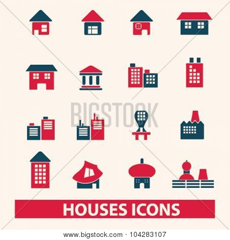 houses, buildings icons