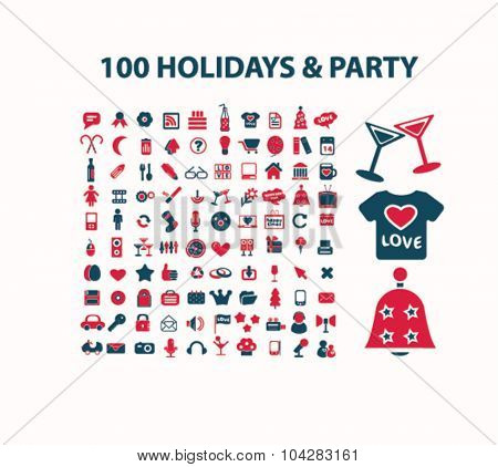 winter holidays, party, christmas icons