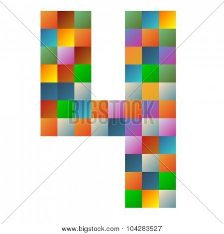 Four number rainbow colorful sparkling vector illustration