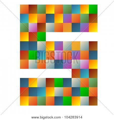 Sierra letter rainbow colorful sparkling vector illustration