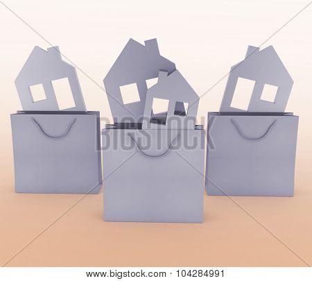 3d model house symbol set in a paper shopping bag