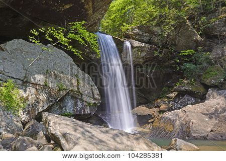Secluded Falls In A Verdant Canyon