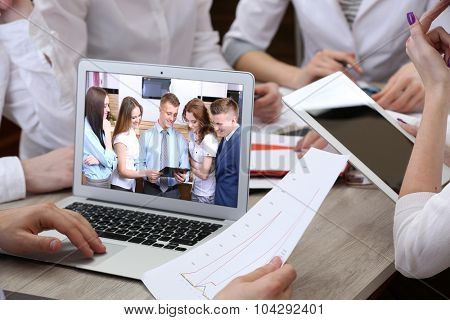 Portrait of business peoples attending video conference
