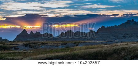 Beautiful Sunset Badlands National Park South Dakota