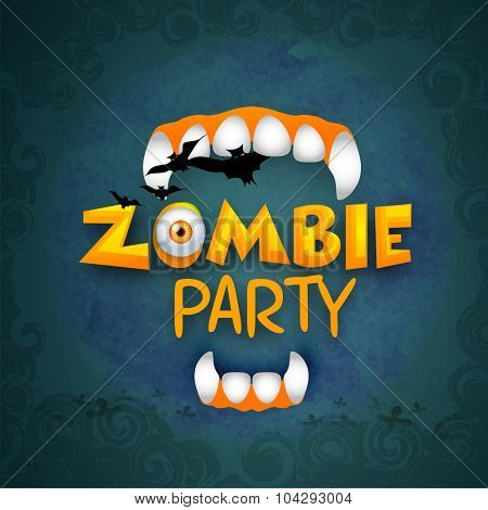 Happy Halloween, Zombie Party celebration with illustration of vampire teeth and flying bats on grungy blue background.