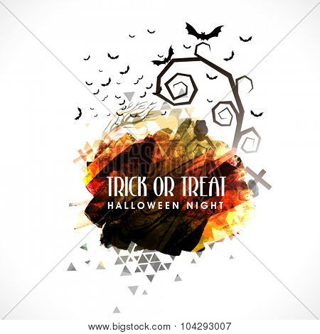 Trick or Treat, Halloween Night Party celebration with scary flying bats on grey background.