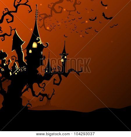 Creative haunted house on the dead tree with flying bats in night view for Happy Halloween Party celebration.