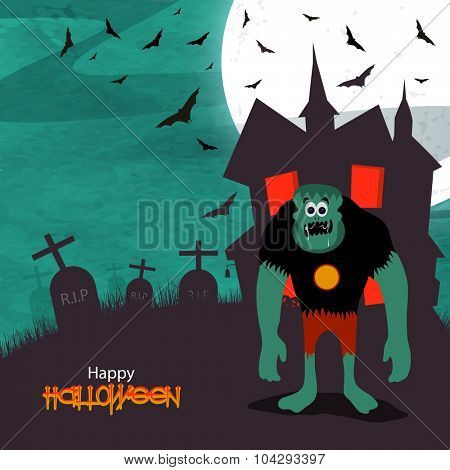 Scary zombie standing in front of a haunted house on horrible night background for Happy Halloween Party celebration.