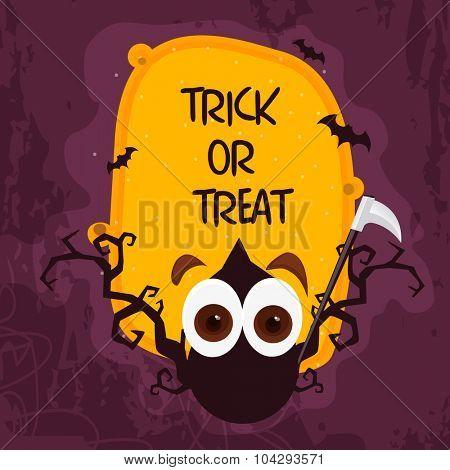 Scary monster with axe on stylish background for Happy Halloween, Trick or Treat Party celebration.