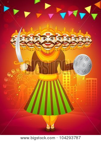 Creative Ravana statue on stylish urban city background for Indian festival, Happy Dussehra celebration.