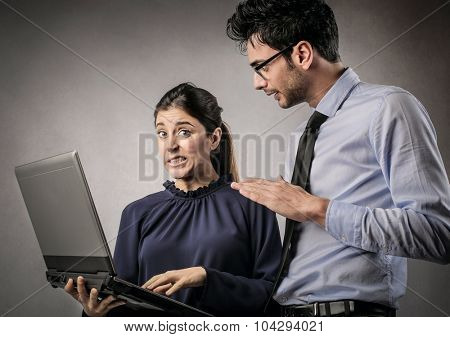 Man blaming his girlfriend