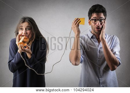 Man and woman trying to communicate