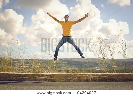Cheerful man jumping