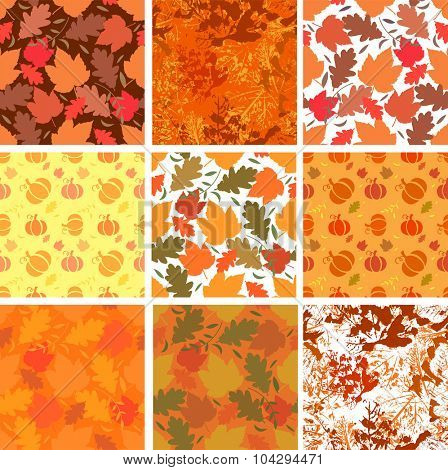 Seamless backgrounds with autumn leaves and pumpkins on orange backgrounds. Vector illustration