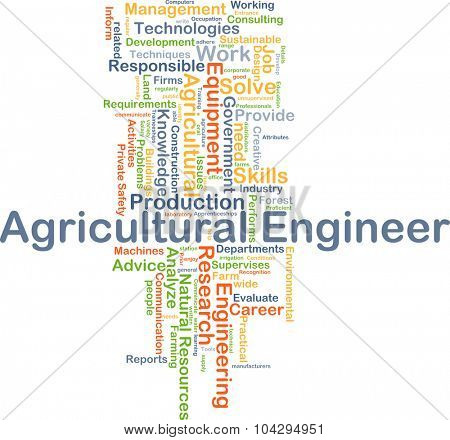Background concept wordcloud illustration of agricultural engineer