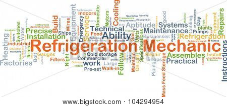 Background concept wordcloud illustration of refrigeration mechanic
