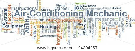 Background concept wordcloud illustration of air-conditioning mechanic