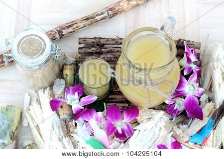 Juice Of Fresh Sugar Cane For Drinks And Sugar.