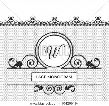 Letter W black lace monogram, stitched on seamless tulle background with antique style floral border. EPS10 vector format.