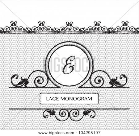 Ampersand black lace monogram, stitched on seamless tulle background with antique style floral border. EPS10 vector format.