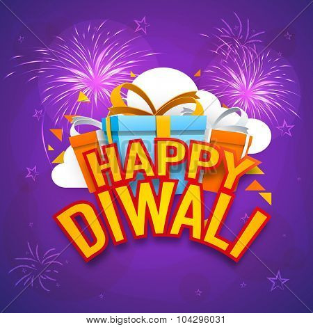 Stylish poster, banner or flyer design with gift box on shiny firecrackers decorated background for Indian festival, Happy Dussehra celebration.