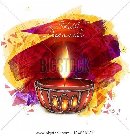 Creative illuminated lit lamp on abstract floral design decorated background for Indian Festival of Lights, Happy Deepawali celebration.