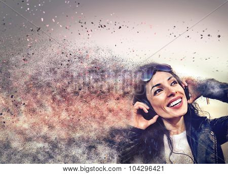 Suggestive Club Flyer Featuring a DJ Girl listening to music and smiling with a sand dispersion effect.