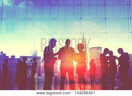 Business People Corporate Cityscape Discussion Communication Concept