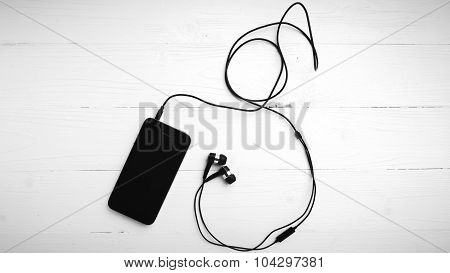 Cellphone With Earphone Black And White Color Tone Style