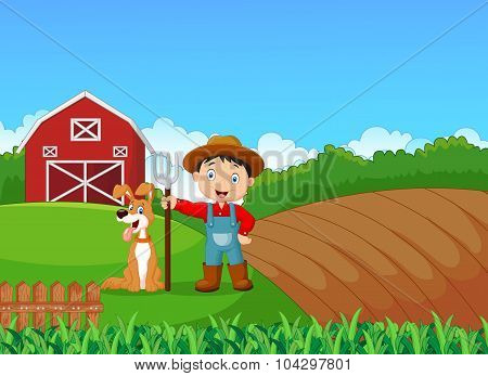 Cartoon little farmer and his dog with farm background